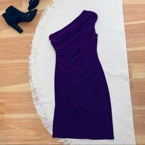 Evan Picone One Shoulder Cocktail Dress Purple 6